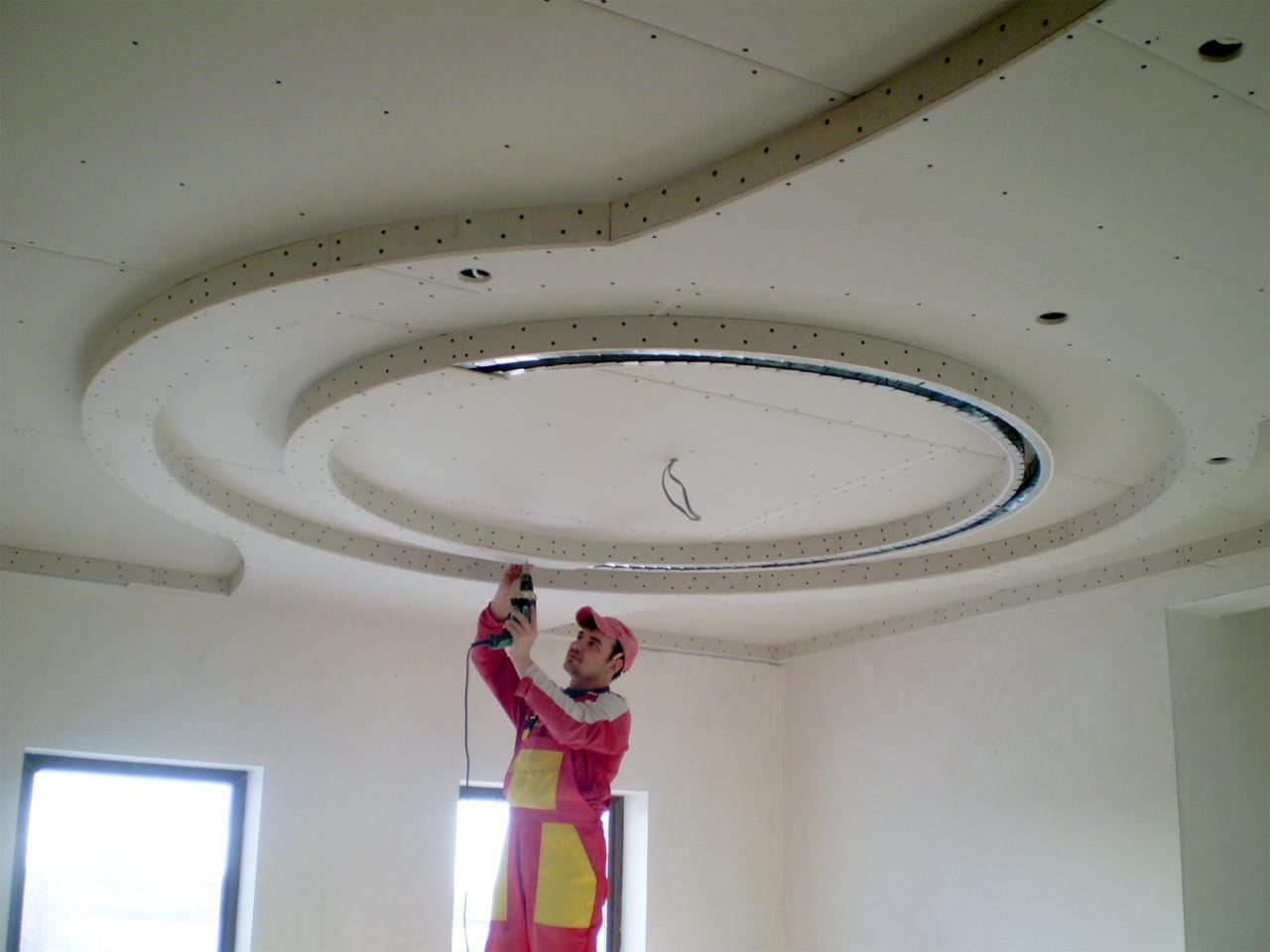 Монтаж многоуровневой конструкций для потолка из гипсокартона