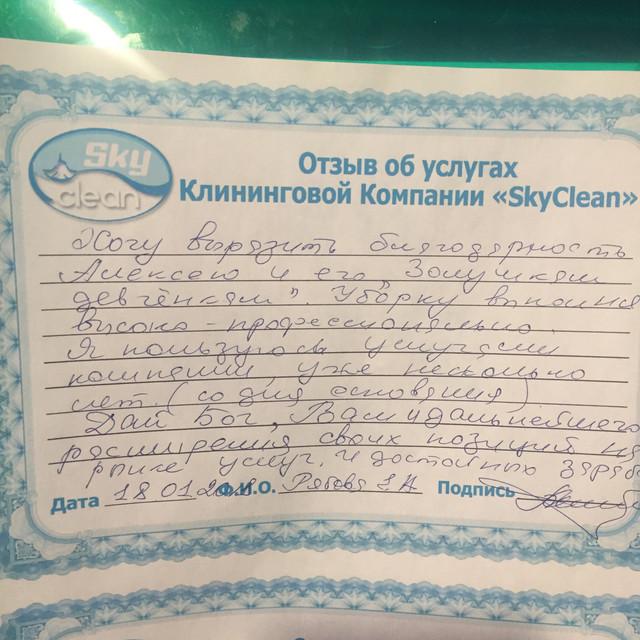 Рукописный отзыв о компании Sky clean